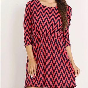 Dresses & Skirts - Black & Coral Chevron Dress